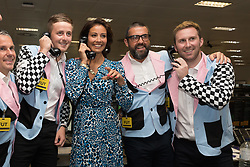 © Licensed to London News Pictures. 11/09/2018. London, UK.  Melanie Sykes at the 14th Annual BGC Charity Day held on the trading floor of BGC Partners in Canary Wharf, to raise money for charitable causes in commemoration of BGC's 658 colleagues and the 61 Eurobrokers employees lost on 9/11.  Photo credit: Vickie Flores/LNP