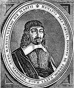 Rene Descartes (1596-1650) French philosopher and mathematician.  From an edition of his 'Principia Philosophica'. (Amsterdam, 1672). Engraving.