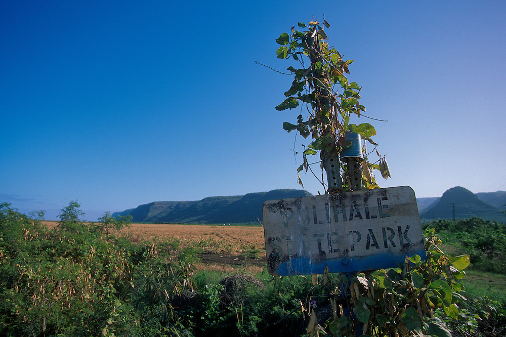 Polihale State Park Sign, Kauai, Hawaii, US