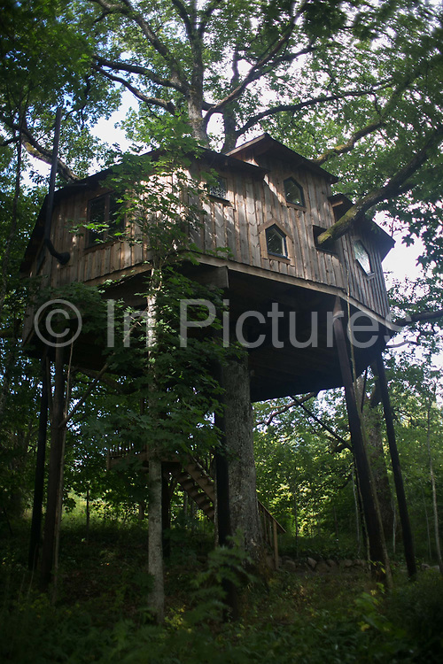 The view of the the tree house built by Anni Ravn near Kosta,Sweden, 7th of August 2016. The house is 6 mter up with two bed rooms and an amazing view. It is built 6 meters up ina 300 year old oake all by Anni Ravn, next to her home on the ground. It is wel known in the town of Kosta and is regularly rented out as Air BnB.