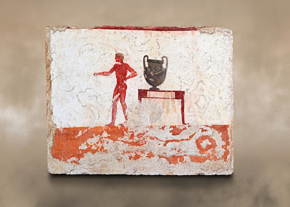 """Greek Fresco on the inside of Tomb of  the Diver  [La Tomba del Truffatore]. The tomb is painted with the true fresco technique and its importance lies in being """"the only example of Greek painting with figured scenes dating from the Orientalizing, Archaic, or Classical periods to survive in its entirety. This panel from the short side of the tomb shows a man with a wreathed wine crater . Paestrum, Andriuolo.  (480-470 BC  ) .<br /> <br /> If you prefer to buy from our ALAMY PHOTO LIBRARY  Collection visit : https://www.alamy.com/portfolio/paul-williams-funkystock - Scroll down and type - Paestum Fresco - into LOWER search box. {TIP - Refine search by adding a background colour as well}.<br /> <br /> Visit our ANCIENT GREEKS PHOTO COLLECTIONS for more photos to download or buy as wall art prints https://funkystock.photoshelter.com/gallery-collection/Ancient-Greeks-Art-Artefacts-Antiquities-Historic-Sites/C00004CnMmq_Xllw"""
