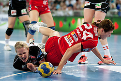 Kristina Franic of Krim (R) vs Tine Kristiansen of Larvik during handball match between RK Krim Mercator and Larvik HK (NOR) of Women's EHF Champions League 2011/2012, on November 13, 2011 in Arena Stozice, Ljubljana, Slovenia. Larvik defeated Krim 22-19. (Photo By Vid Ponikvar / Sportida.com)