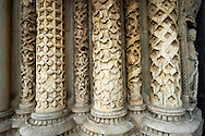Gothic sculpted columns from the Cathedral of Chartres, France. . A UNESCO World Heritage Site. . .<br /> <br /> Visit our MEDIEVAL ART PHOTO COLLECTIONS for more   photos  to download or buy as prints https://funkystock.photoshelter.com/gallery-collection/Medieval-Middle-Ages-Art-Artefacts-Antiquities-Pictures-Images-of/C0000YpKXiAHnG2k