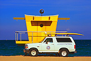 A Miami Beach lifeguard station designed by architect William Lane in a pop art-influenced, post-modern style. He says the shape of this lifeguard stand was  inspired by the shape of old Art Deco radios.
