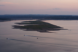 Lake Travis during drought conditions in Texas revealing the 'Sometimes Islands'.