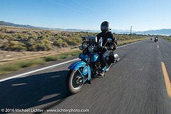 Jon Neuman riding his 1928 Harley-Davidson JD during stage 12 (299 m) of the Motorcycle Cannonball Cross-Country Endurance Run, which on this day ran from Springville, UT to Elko, NV, USA. Wednesday, September 17, 2014.  Photography ©2014 Michael Lichter.