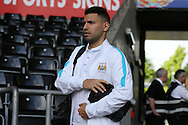 Sergio Aguero  of Manchester city  arrives at the stadium before the match. Barclays Premier league match, Swansea city v Manchester city at the Liberty Stadium in Swansea, South Wales on Sunday 15th May 2016.<br /> pic by Andrew Orchard, Andrew Orchard sports photography.