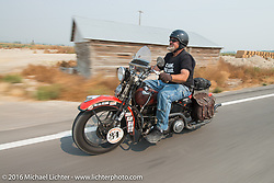 Carl Olsen riding his 1936 Harley-Davidson Knucklehead during Stage 13 (257 miles) of the Motorcycle Cannonball Cross-Country Endurance Run, which on this day ran from Elko, NV to Meridian, Idaho, USA. Thursday, September 18, 2014.  Photography ©2014 Michael Lichter.