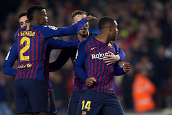 February 6, 2019 - Barcelona, Barcelona, Spain - Malcom and Coutinho of Barcelona celebrates after scoring his sides first goalduring the Spanish Cup (King's cup), first leg semi-final match between FC Barcelona and  Real Madrid at Camp Nou stadium on February 6, 2019 in Barcelona, Spain. (Credit Image: © Jose Breton/NurPhoto via ZUMA Press)