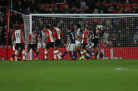 Football - 2017 / 2018 Premier League - Southampton vs. West Bromwich Albion<br /> <br /> Ben Forster of West Bromwich Albion makes a fine save from Southampton's Maya Yoshida header at St Mary's Stadium Southampton<br /> <br /> COLORSPORT/SHAUN BOGGUST