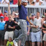Jason Day, Australia, celebrates a birdie on the fifteenth hole during the final round while winning the The Barclays Golf Tournament by six shots at The Plainfield Country Club, Edison, New Jersey, USA. 30th August 2015. Photo Tim Clayton