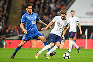 England Midfielder Adam Lallana (18) and Italy Midfielder Lorenzo Pellegrini (16) battle for the ball during the Friendly match between England and Italy at Wembley Stadium, London, England on 27 March 2018. Picture by Stephen Wright.