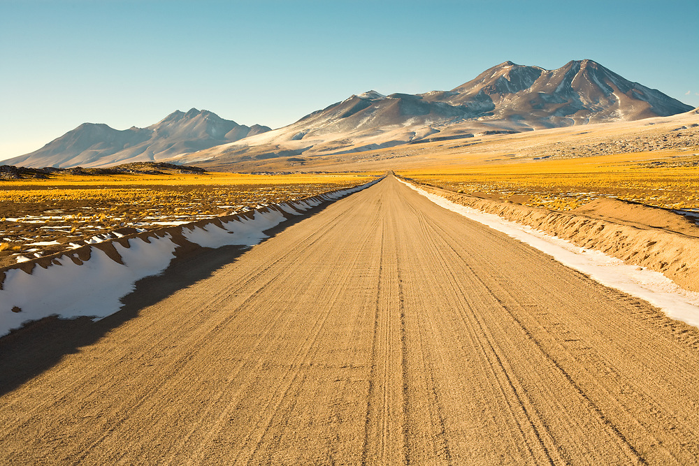 Road in the Altiplano (high Andean Plateau) at an altitude of over 4000m, Atacama desert, Chile, South America