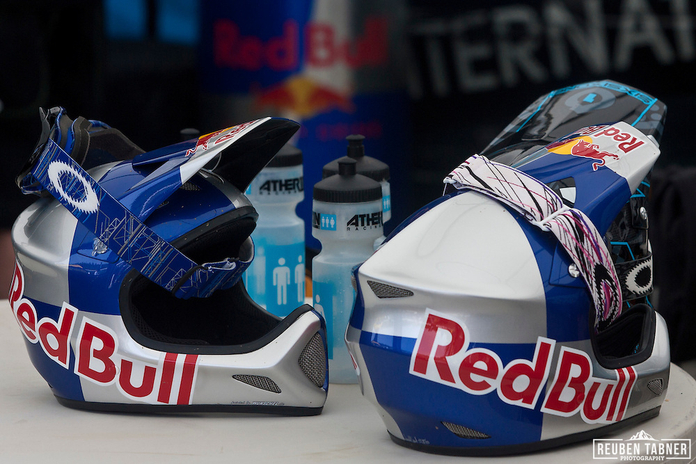 The Atherton's helmets at the UCI Mountain Bike World Cup in Fort William, Scotland.