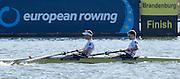 Brandenburg. GERMANY. GBR LM2_. Bow Joel CASSELLS and Sam SCRIMGEOUR, Gold Medalist.<br /> 2016 European Rowing Championships at the Regattastrecke Beetzsee<br /> <br /> Sunday  08/05/2016<br /> <br /> [Mandatory Credit; Peter SPURRIER/Intersport-images]