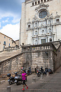 Woman jogging by  the Cathedral of Saint Mary of Girona, Catalonia, Spain. (c) 20014 Dave Walsh