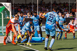 (L-R) Mirco Pruyser of The Netherlands, Birenda Lakra of India during the Champions Trophy match between the Netherlands and India on the fields of BH&BC Breda on June 30, 2018 in Breda, the Netherlands