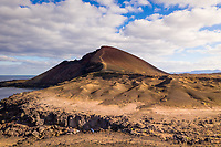 Aerial view of rock formation mountain, Lanzarote, Spain.