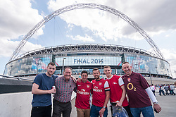 © Licensed to London News Pictures. 30/05/2015. London, UK. Arsenal supporters posing, as fans gather at Wembley Stadium for the FA Cup Final 2015, between Arsenal and Aston Villa. Photo credit : Stephen Chung/LNP
