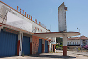 1950s architecture of a closed highway service station in Curia, Portugal.
