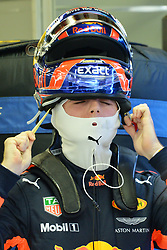 SINGAPORE, Sept. 16, 2017  Red Bull Racing Tag Heuer's Dutch driver Max Verstappen prepares in the pit during the third practice session of the Formula One Singapore Grand Prix in Singapore on Sept. 16, 2017. Max Verstappen posted the fastest time with 1:41.829 in the final and final practice ahead of qualifying later Saturday.  wll) (Credit Image: © Then Chih Wey/Xinhua via ZUMA Wire)