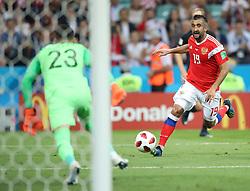 SOCHI, July 7, 2018  Alexander Samedov (R) of Russia breaks through with the ball during the 2018 FIFA World Cup quarter-final match between Russia and Croatia in Sochi, Russia, July 7, 2018. (Credit Image: © Wu Zhuang/Xinhua via ZUMA Wire)