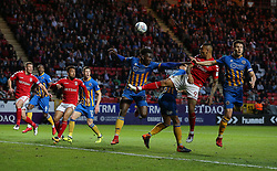 Josh Magennis of Charlton Athletic heads the ball towards goal - Mandatory by-line: Paul Terry/JMP - 10/05/2018 - FOOTBALL - The Valley - Charlton, London, England - Charlton Athletic v Shrewsbury Town - Sky Bet League One - Mandatory by-line: Paul Terry/JMP - 10/05/2018 - FOOTBALL - The Valley - Charlton, London, England - Charlton Athletic v Shrewsbury Town - Sky Bet League One