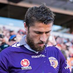 BRISBANE, AUSTRALIA - OCTOBER 30: Dino Djulbic of the Glory enters the field before the round 4 Hyundai A-League match between the Brisbane Roar and Perth Glory at Suncorp Stadium on October 30, 2016 in Brisbane, Australia. (Photo by Patrick Kearney/Brisbane Roar)