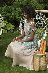 June 7, 2017 - New York, United States - Model shows off dress for designer Lela Rose Resort 2018 collection presentation at Jefferson Market Garden. (Credit Image: © Lev Radin/Pacific Press via ZUMA Wire)
