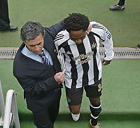 Photo. Andrew Unwin, Digitalsport<br /> Newcastle United v Chelsea, Barclays Premiership, St James' Park, Newcastle upon Tyne 15/05/2005.<br /> Chelsea's Jose Mourinho (L) drags Newcastle's Celestine Babayaro (R) back to walk out with the Chelsea team.