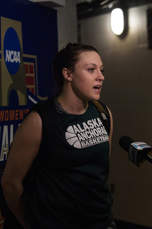April 2, 2016; Indianapolis, Ind.; Jenna Buchana talks to the media after their practice session at Bankers Life Fieldhouse.