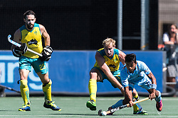 (L-R) Trent Mitton of Australia, Aran Zalewski of Australia, Vivek Prasad of India during the Champions Trophy finale between the Australia and India on the fields of BH&BC Breda on Juli 1, 2018 in Breda, the Netherlands.
