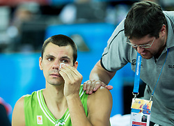 Jure Balazic of Slovenia injured and doctor Marko Macura during basketball match between Slovenia and Georgia at Day 2 in Group C of FIBA Europe Eurobasket 2015, on September 6, 2015, in Arena Zagreb, Croatia. Photo by Vid Ponikvar / Sportida