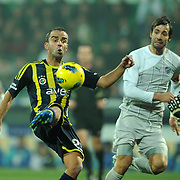 Fenerbahce's Semih Senturk (L) during their Turkish soccer super league match Bursaspor between Fenerbahce at Ataturk Stadium in Bursa Turkey on Monday, 12 December 2010. Photo by TURKPIX
