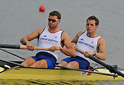 Shunyi, CHINA. GBR M2-, Bow, Robin BOURNE TAYLOR and Tom SOLESBURY, move away from the start of there heat of the men's pair, at the 2008 Olympic Regatta,  Saturday, 09.08.2008  [Mandatory Credit: Peter SPURRIER, Intersport Images]