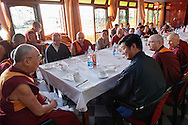 During lunch with His Holiness Dalai Lama after the first Geshema convocation at Drepung Lachi in Mundgod, Karnataka, India on December 22, 2016.