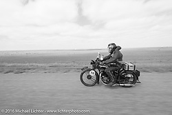 Kevin Waters riding his 1931 Sunbeam M9 Antique during Stage 8 of the Motorcycle Cannonball Cross-Country Endurance Run, which on this day ran from Junction City, KS to Burlington, CO., USA. Saturday, September 13, 2014.  Photography ©2014 Michael Lichter.