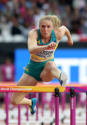 Australia's Sally Pearson and Jamaica's Megan Simmons in the Women's 100m Hurdles semi-final heat one during day eight of the 2017 IAAF World Championships at the London Stadium.