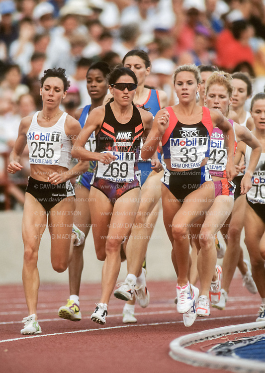 NEW ORLEANS - JUNE 26:  Mary Slaney #255, PattiSue Plumer #269, and Ceci St. Geme #33, all of the USA, run in a semi-final of the Women's 1500 meter event of the 1992 USA Track and Field Olympic Trials on June 26, 1992 at Tad Gormley Stadium in New Orleans, Lousiana.  (Photo by David Madison/Getty Images)