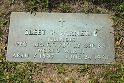 31 August 2017:   Veterans graves in Park Hill Cemetery in eastern McLean County.<br /> <br /> Sleet P Barnette  Illiniois  Private First Class HQ Co 730 RY OPR BN  World War II  April 7 1897  June 24 1961