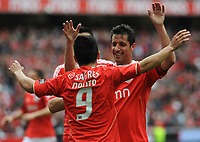 20120421: LISBON, PORTUGAL – Portuguese Liga Zon Sagres 2011/2012 - SL Benfica VS Maritimo<br />In picture: Benfica's Nolito, from Spain, right, celebrates with teammate Joan Capdevilla, from Spain, after scoring the opening goal against Maritimo.<br />PHOTO: Alvaro Isidoro/CITYFILES