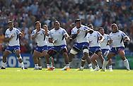 Samoan Haka (war dance) before the Rugby World Cup 2015 match between Samoa and USA at the Brighton Community Stadium, Falmer, United Kingdom on 20 September 2015.