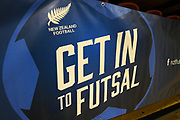 Signage before the Mens Futsal Superleague match, Central v Capital, Pettigrew Green Arena, Napier, Saturday, September 28, 2019. Copyright photo: Kerry Marshall / www.photosport.nz