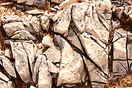 close up textures and layers of limestone  schists on the Island of Ios, Cyclades Islands, Greece