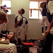Jockeys in the Jockey room between races at Cessnock races in New South Wales, Australia
