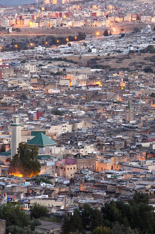 View of Fes medina at dusk, Morocco