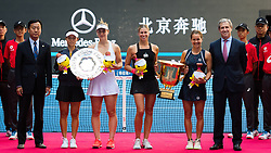 October 7, 2018 - Yifan Xu of China, Gabriela Dabrowski of Canada, Andrea Sestini Hlavackova & Barbora Strycova of the Czech Republic during the trophy ceremony after the doubles final of the 2018 China Open WTA Premier Mandatory tennis tournament (Credit Image: © AFP7 via ZUMA Wire)