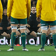 The Wallabies face the All Black's Haka from Ma'a Nonu, (left), Richie McCaw, (centre), and Kieran Read, (righ)t, during the New Zealand V Australia Tri-Nations, Bledisloe Cup match at Eden Park, Auckland. New Zealand. 6th August 2011. Photo Tim Clayton