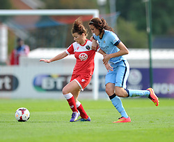 Bristol Academy Womens' Angharad James under pressure from Manchester City Womens' Jill Scott - Photo mandatory by-line: Dougie Allward/JMP - Mobile: 07966 386802 - 28/09/2014 - SPORT - Women's Football - Bristol - SGS Wise Campus - Bristol Academy Women's v Manchester City Women's - Women's Super League