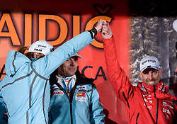 Slovenian athlete Petra Majdi, her coach Ivan Hudac and Miha Plahutnik celebrate with her home town when she arrived home with small cristal globus at the end of the nordic season 2008/2009, on March 24, 2009, in Dol pri Ljubljani, Slovenia. (Photo by Vid Ponikvar / Sportida)